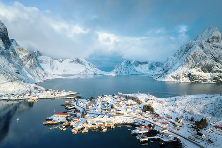 snow in Reine Village, Lofoten Islands, Norway Archivio Fotografico