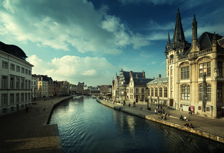 Leie river in Ghent town, Belgium Stock Photo - 82747216