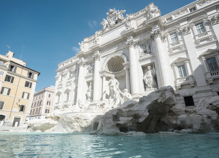 flowing water: Fountain di Trevi in Rome, Italy Stock Photo