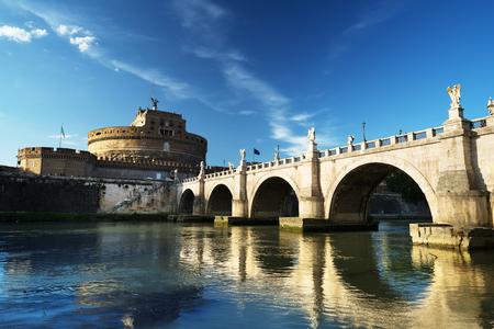 Saint Angel castle and bridge and Tiber river, Rome, Italy Stock Photo - 85024900
