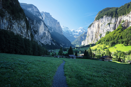 Lauterbrunnen and Swiss Alps in the background, Berner Oberland, Switzerland, Europe