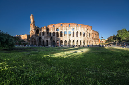 Colosseum in Rome, sunset time, Italy Stock Photo