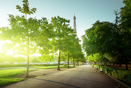 city park skyline: sunny morning and Eiffel Tower, Paris, France Stock Photo