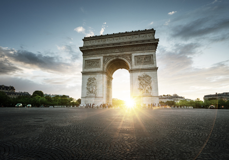 Triumphal Arch at sunset, Paris, France