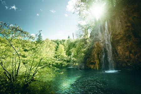 숲, 플리트 비 체 호수, 크로아티아에서에서 폭포 스톡 콘텐츠