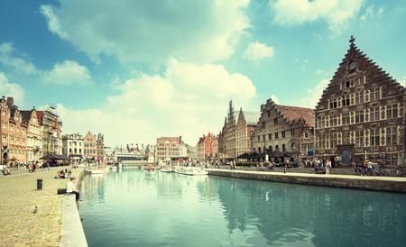 Vieille ville de Gand, Belgique Banque d'images - 89477763