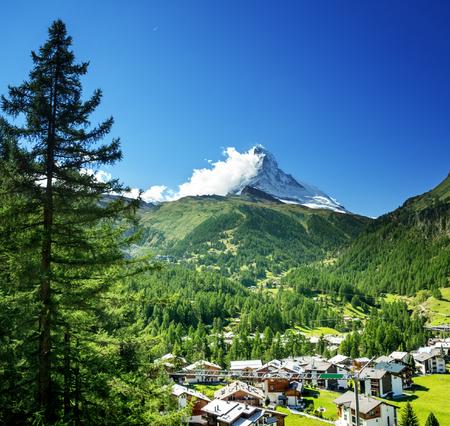 Zermatt village with peak of Matterhorn, Switzerland Stock Photo - 89477784