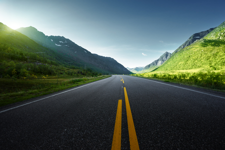 summer road in mountain, Lofoten islands, Norway Stock Photo