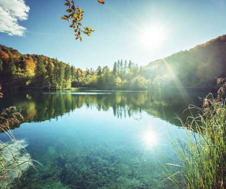 lake in forest of Croatia Stock Photo