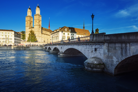 Zurich city center with famous Grossmunster and river Limmat, Switzerland