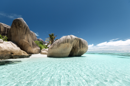 Anse Source d'Argent beach, La Digue, Seyshelles 免版税图像