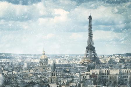 snow in Paris Stock Photo