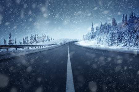 road in winter forest Banco de Imagens