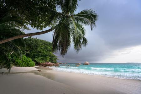Anse Lazio beach after rain, Praslin island, Seychelles
