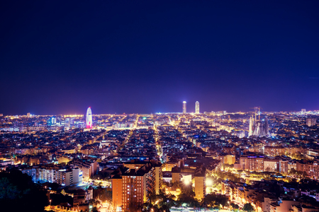 Barcelona skyline, Spain Redakční
