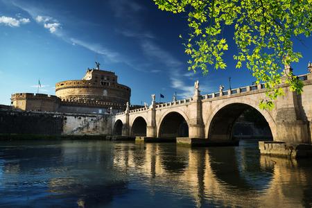 Saint Angel castle and bridge and Tiber river, Rome, Italy Stock Photo - 93920287