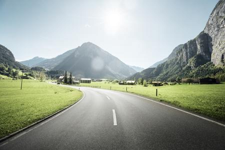 Mountain road, Jungfrau region, Switzerland Stock Photo