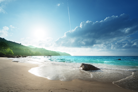 Playa de Anse Lazio en la isla de Praslin, Seychelles