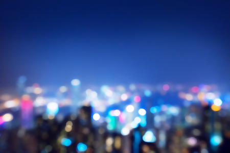 blurred lighhts from peak Victoria, Hong Kong Stock Photo