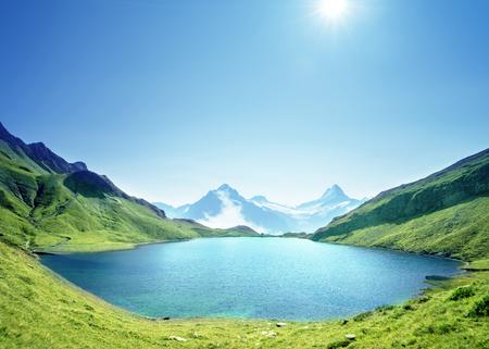 Schreckhorn and Wetterhorn from Bachalpsee lake,Bernese Oberland,Switzerland,Europe