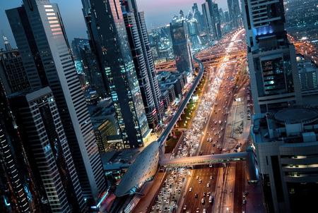 Sheikh Zayed Road in sunset time, Dubai, UAE
