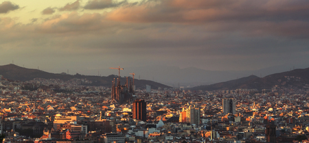 Barcelona in sunset time