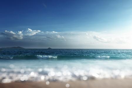 Sunset, Seychelles beach, tilt shift effect Stock Photo