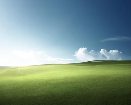 hierba de primavera, campo de golf