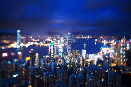 Hong Kong from Victoria peak, ltilt shift photo