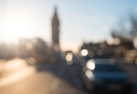 bokeh of Westminster Bridge at sunset, London, UK