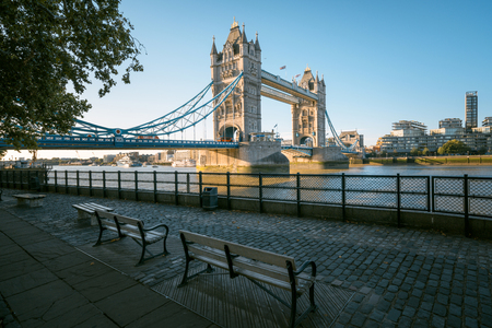 tower bridge in sunny morning London, UK Stok Fotoğraf