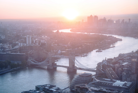 sunrise, London aerial view with Tower Bridge, UK Reklamní fotografie - 115692395