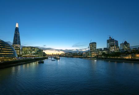 sunset in London, river Thames from Tower Bridge, UK Reklamní fotografie - 115692399