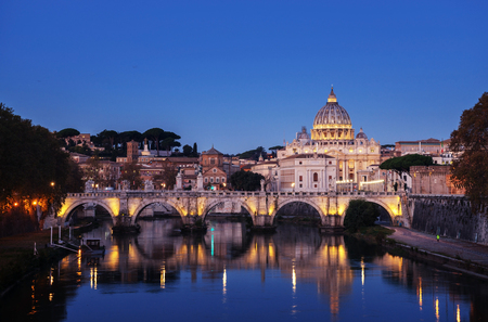 Tiber and St Peter Basilica in Vatican, sunrise time