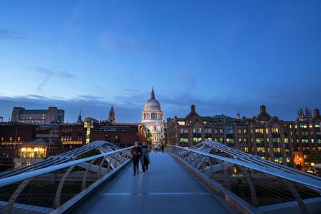 Millenium Bridge, with St. Pauls Cathedral, UK