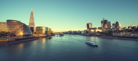 morning in London, river Thames from Tower Bridge, UK