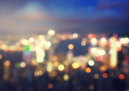 lumières floues du pic Victoria, Hong Kong