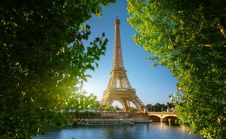 Seine in Paris with Eiffel tower Stock Photo