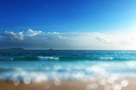 Sunset, Seychelles beach, tilt shift effect Imagens