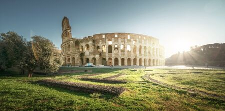 Colosseum in Rome, sunrise time, Italy