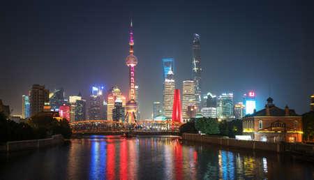 Shanghai skyline and Waibaidu bridge, China
