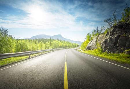 summer road in mountain, Lofoten islands, Norway Zdjęcie Seryjne