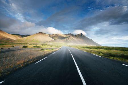 asphalt road, sunny day, Iceland