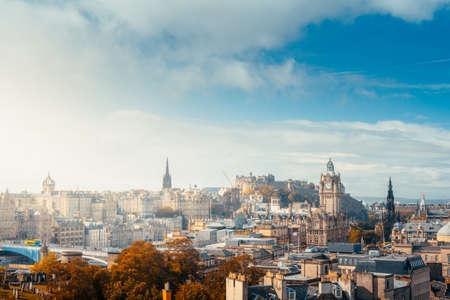 Edinburgh city skyline from Calton Hill., United Kingdom