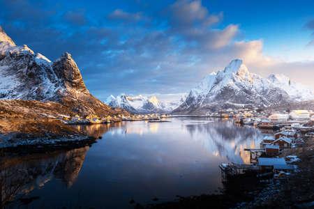 sunrise in Reine Village, Lofoten Islands, Norway 写真素材