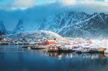 snow in Reine Village, Lofoten Islands, Norway 写真素材