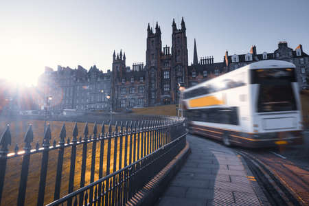 road and University of Edinburgh, Scotland, UK 写真素材