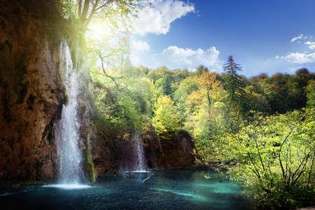 Waterfall in forest, Plitvice, Croatia Zdjęcie Seryjne