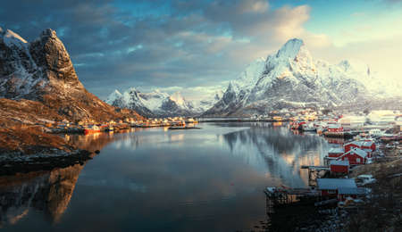 sunrise in Reine Village, Lofoten Islands, Norway 写真素材 - 155318074