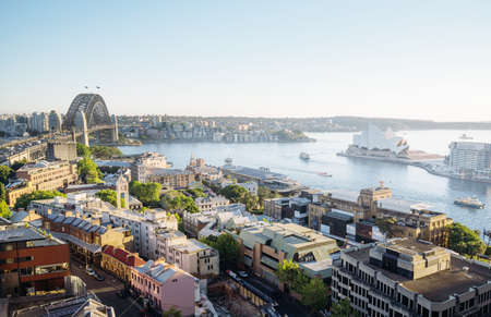 sunrise, Aerial view of Sydney with Harbor Bridge, Australia 写真素材 - 155740778